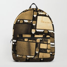 Sepia Abstract Geometric Shapes Decorative Mirror Print Backpack
