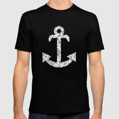 Marble Anchor in Navy Mens Fitted Tee MEDIUM Black