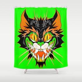 SPOOKY CAT (green) Shower Curtain