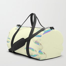 IRIDESCENT SOAP BUBBLES  ON YELLOW COLOR Duffle Bag