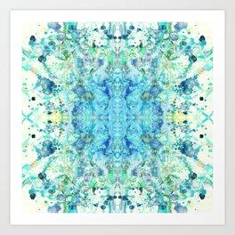 Aqua & Mint Symmetrical Watercolor Abstract Art Print