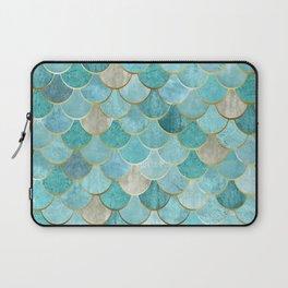 Moroccan Mermaid Fish Scale Pattern, Aqua,Teal Laptop Sleeve
