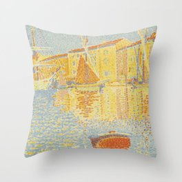"""Paul Signac """"The Buoy (Saint-Tropez, the Harbour) (La bouée (Saint-Tropez, le port))"""" Throw Pillow"""