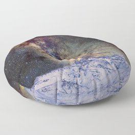 The star Antares, Scorpius and Sagitariuss over the hight mountains. The milky way. Floor Pillow