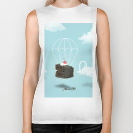 Isolated Chocolate cherry cake with parachute on blue sky background Biker Tank