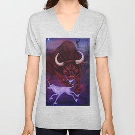 The Unicorn and the Bull Unisex V-Neck