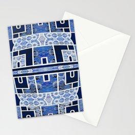 Moroccan Boho Blue Tile Boho Geometric Lace Detail Stationery Cards