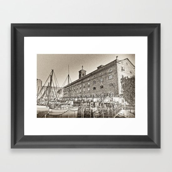 St Katherine's Dock London sketch Framed Art Print