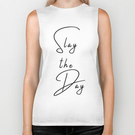 Slay the Day Typography Quote Pink Blush Mauve Biker Tank