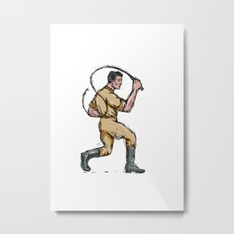 Lion Tamer Bullwhip Isolated Drawing Metal Print