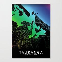Tauranga, New Zealand, City, Map, Rainbow, Map, Art, Print Canvas Print