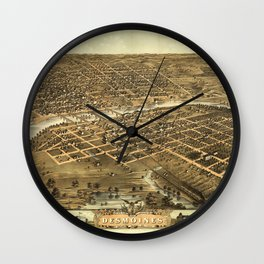 Aerial View of Des Moines, Iowa (1868) Wall Clock