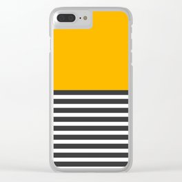 Half Striped Gray - Solid Yellow Clear iPhone Case