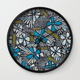 Asha Floral - Blue Wall Clock