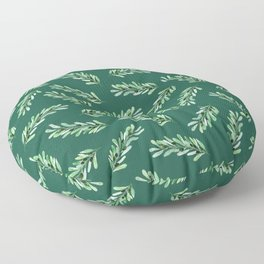 Olive branch pattern in turquoise green background Floor Pillow