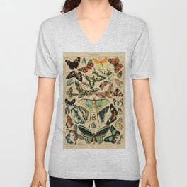 Adolphe Millot- Vintage Butterfly Print Unisex V-Neck