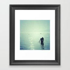 Happy summer vintage. Playing with the water Framed Art Print