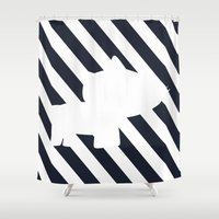 navy Shower Curtains featuring Navy by TT Smith