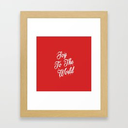 Joy To The World Christmas Red Background Framed Art Print