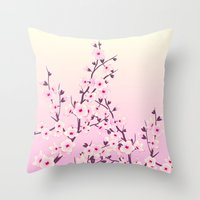 cherry blossoms Throw Pillows featuring Cherry Blossoms by Nina Baydur