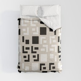 Retro Fancy Cinder Block Pattern Tan Comforters