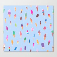 ice cream Canvas Prints featuring Ice Cream by leah reena goren