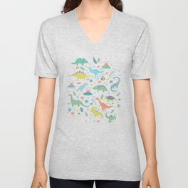 Kawaii Dinosaurs in Teal + Coral + Yellow Unisex V-Neck
