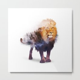 Lion Double exposure art Metal Print