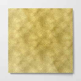Gold ,Glitter and Chevrons Metal Print