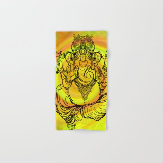 Lord Ganesha on Yellow Spiral Hand & Bath Towel