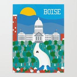 Boise, Idaho - Skyline Illustration by Loose Petals Poster