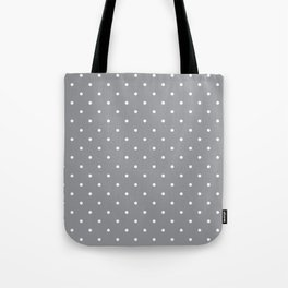 Small White Polka Dots with Grey Background Tote Bag