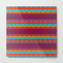 Ethnic Stripes Textile Motif Colorful Geometric Pattern Metal Print