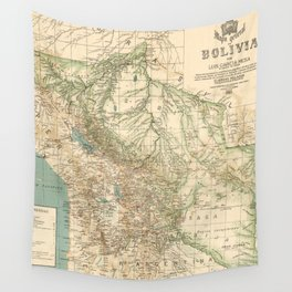 Vintage Map of Bolivia (1905) Wall Tapestry