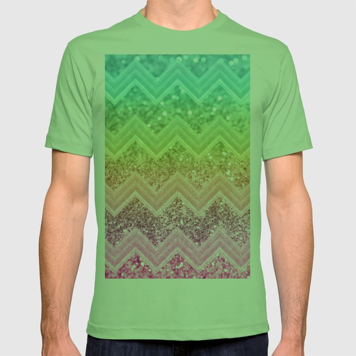 45cfad02a929 Rainbow Glitter Chevron #1 #shiny #decor #art #society6 T-shirt by  anitabellajantz | Society6