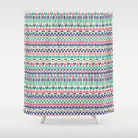 hearts Shower Curtains featuring Hearts by Lydia Meiying