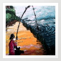 fishing Art Prints featuring FISHING by aztosaha