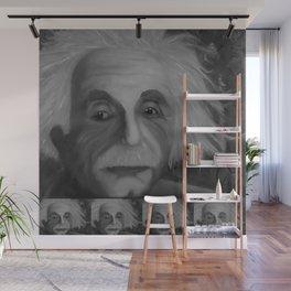 Albert Einstein, Original painting by Lu, black-and-white Wall Mural
