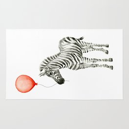 Baby Zebra Whimsical Animal with Red Balloon Nursery Art Rug