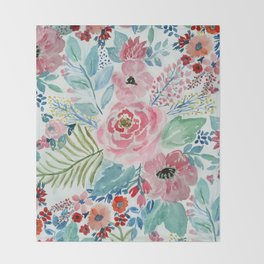 Pretty watercolor hand paint floral artwork. Throw Blanket