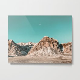 Vintage Red Rocks Moon // Mountain Range Snowcaps in Winter Desert Landscape Photograph Luna Sky Metal Print