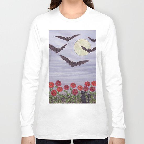 bats, zinnias, and black cat Long Sleeve T-shirt
