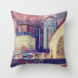 Stone Arch at Night Throw Pillow