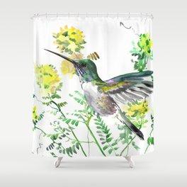 mmingbird design green yew Hummingbird and Yellow Flowers Shower Curtain
