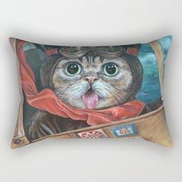Lil Bub Takes Flight, cute cat art, oil painting portrait, flying plane in sky, kitty, kitten Rectangular Pillow