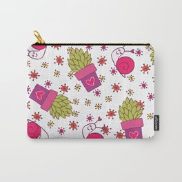 Abstract neon pink green funny snail cactus floral Carry-All Pouch