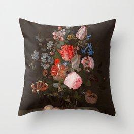 "Adriaen van der Spelt ""Still life of flowers on a stone ledge"" Throw Pillow"