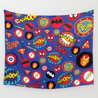 super hero Wall Tapestries featuring Movie Super Hero logos by Nick's Emporium Gallery