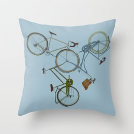 3 bikes Throw Pillow