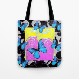 Colorful Modern Blue Butterflies Lilac Yellow Black Design Tote Bag